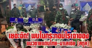 สตูล | เยอะจัด! พบใบกระท่อมไร้เจ้าของ แนวชายแดนไทย–มาเลเซีย