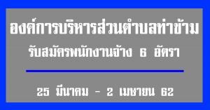 องค์การบริหารส่วนตำบลท่าข้าม รับสมัครพนักงานจ้างจำนวน 6อัตรา (25 มีนาคม - 2 เมษายน 62)