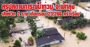 พัทลุง | สรุปสถานการณ์น้ำท่วม จ.พัทลุง เสียชีวิต 2 ราย เดือดร้อน 23,266 ครัวเรือน
