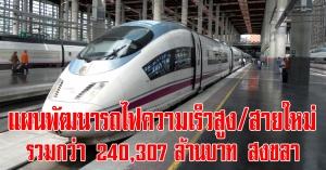 สงขลา   รอเลย! แผนพัฒนารถไฟความเร็วสูง และพัฒนารถไฟทางสายใหม่ รวมงบกว่า 240,307 ล้านบาท